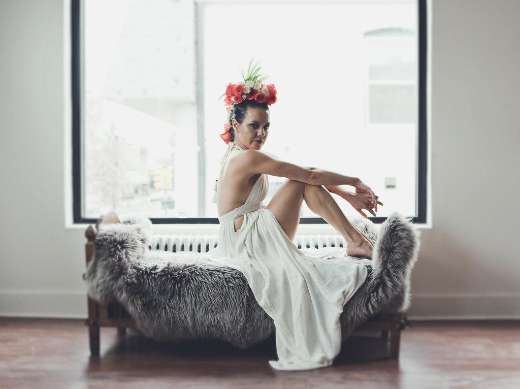 Lisa Rundall Wedding Photography Colorado Model sitting on bench