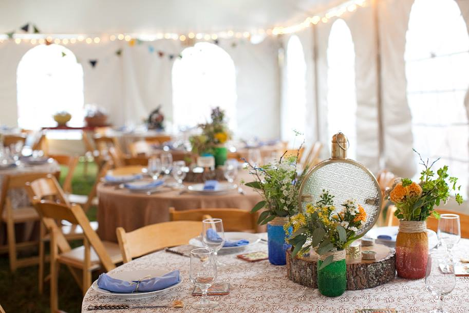 Freebird Imagery lantern and floral wedding centerpieces