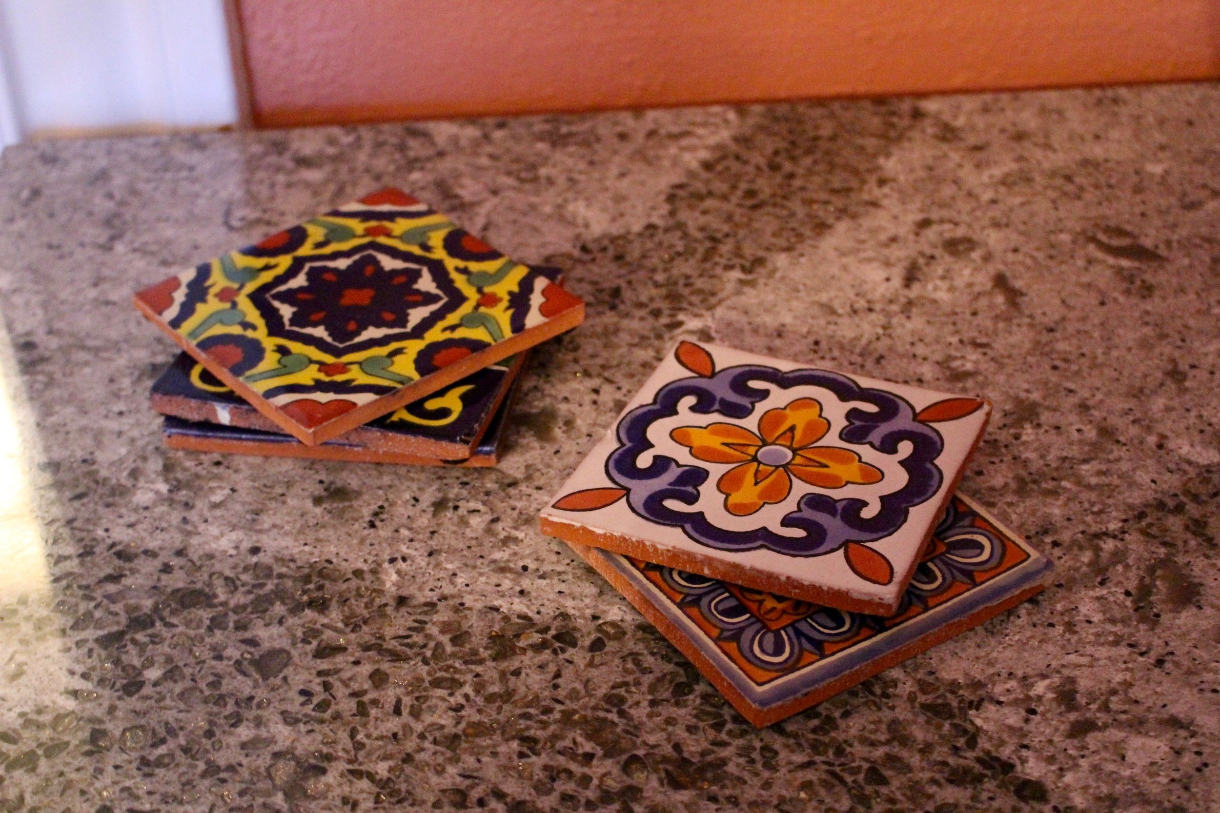 Freebird Imagery stacks of tiles as coasters