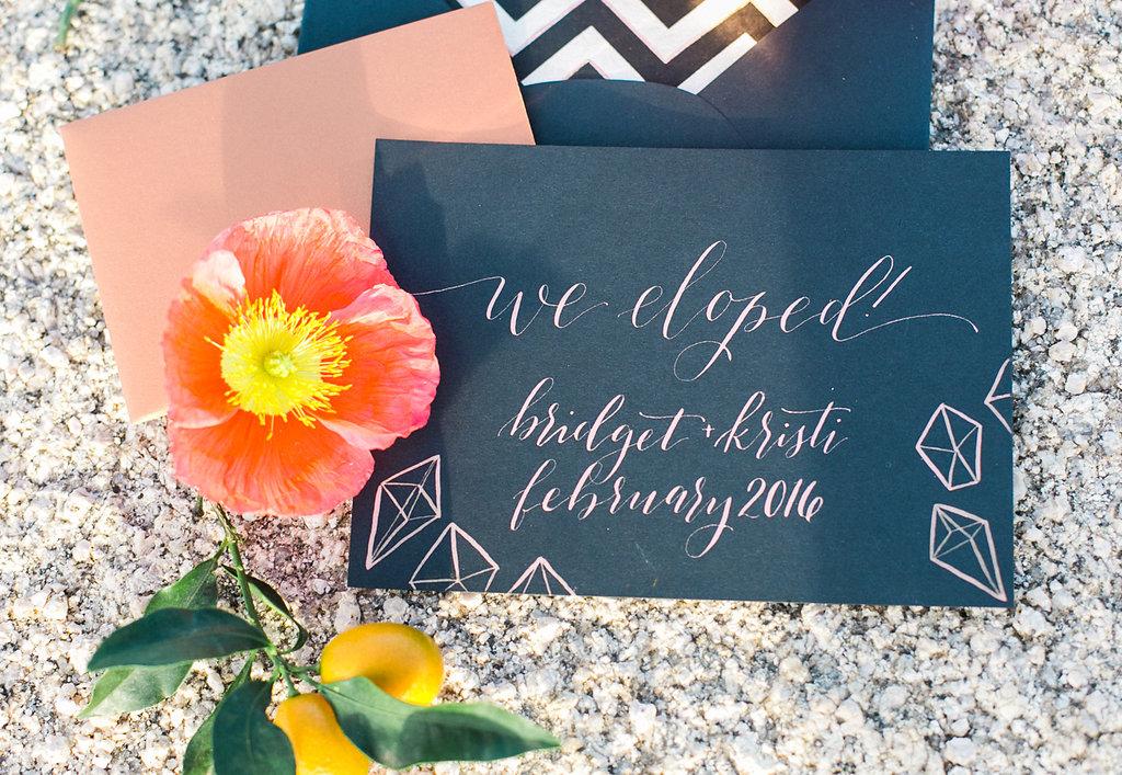 "Jessica Schilling Wedding Photography card reading ""we eloped: bridget and kristi, february 2016"""