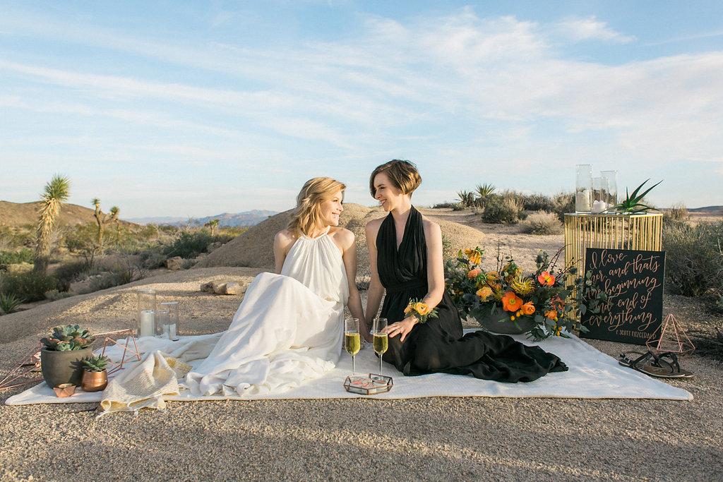 Jessica Schilling Wedding Photography couple at desert picnic