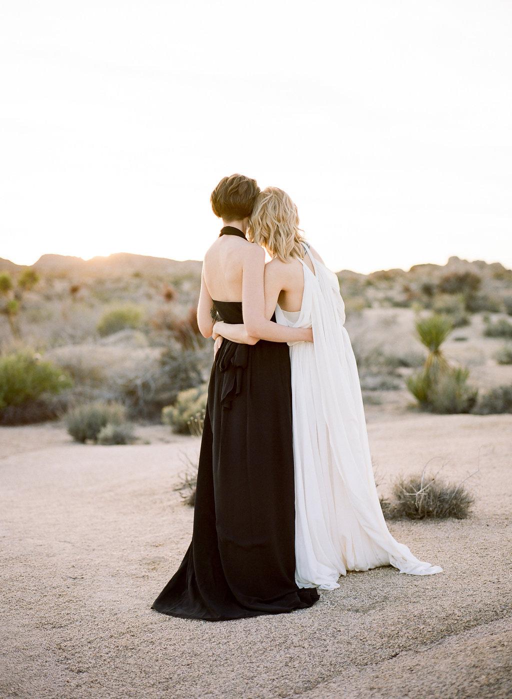 Jessica Schilling Wedding Photography couple admiring desert shot from behind