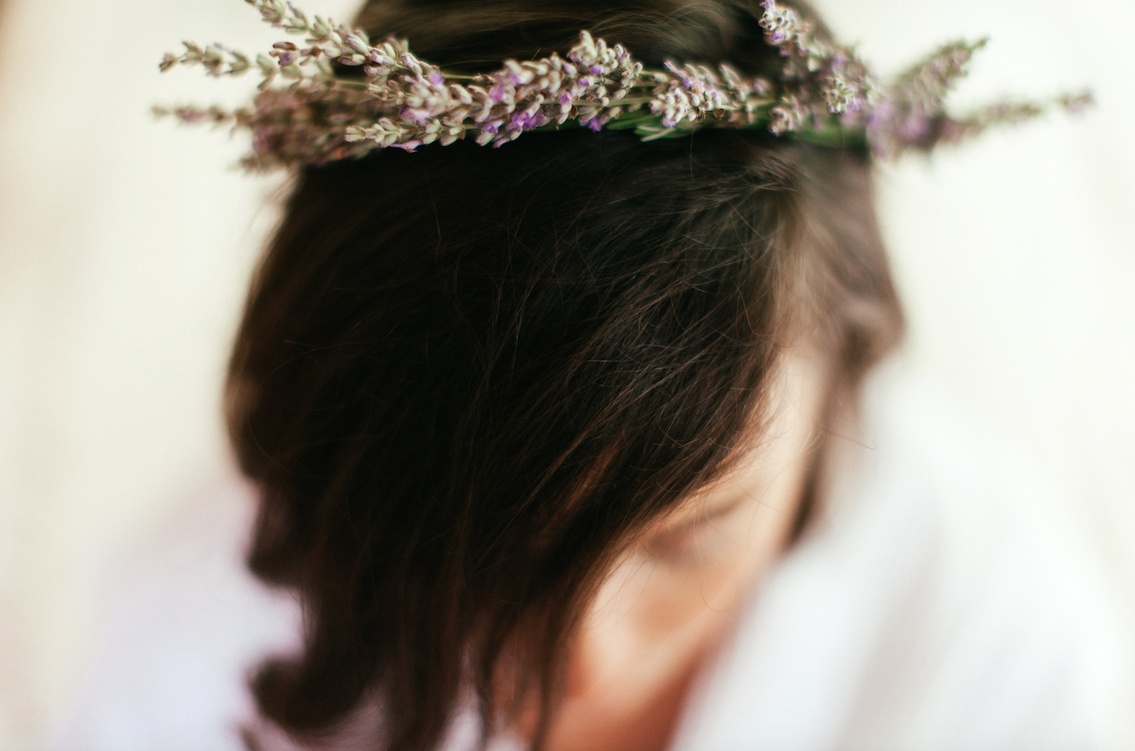 christina karst wedding lavender crown