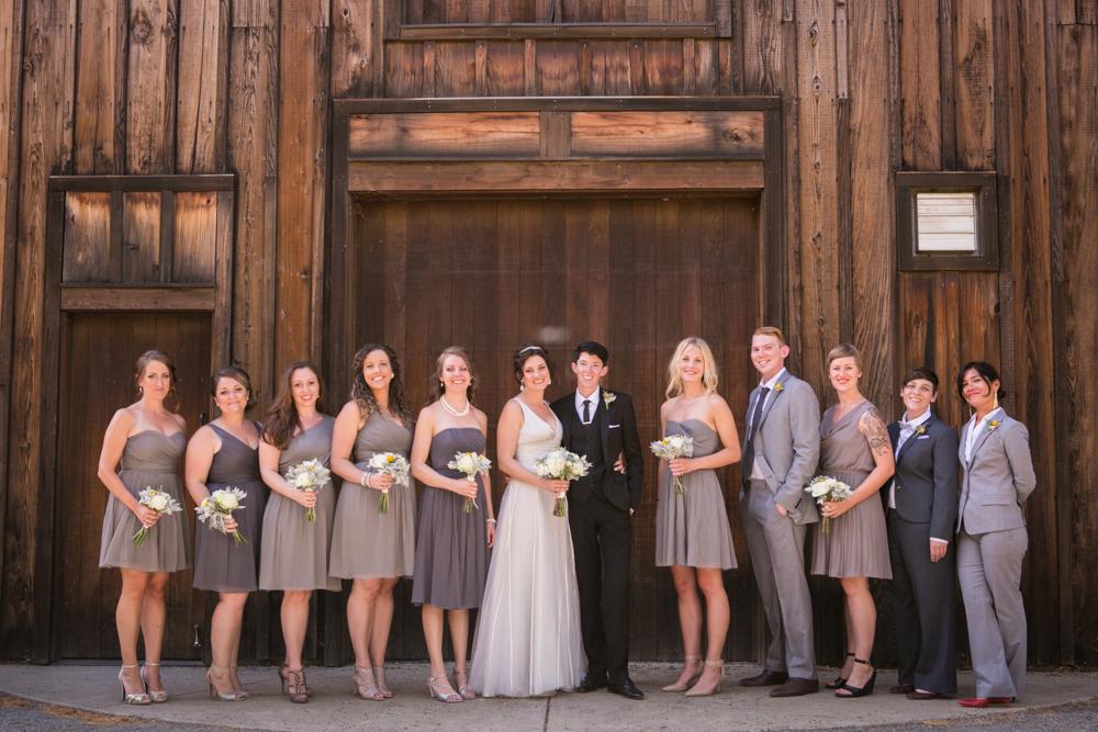 Lesbian Vineyard Wedding Bridal Party