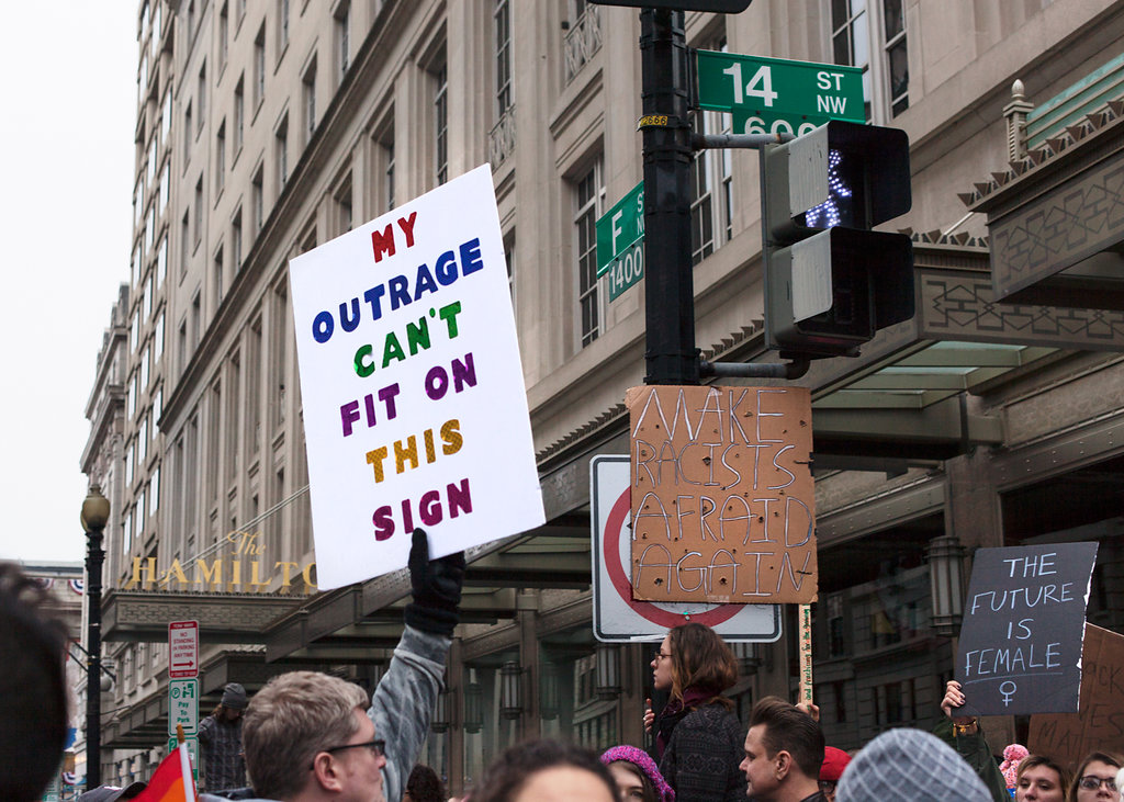 My outrage can't fir on this sign - Women's March on Washington Zig Metzler