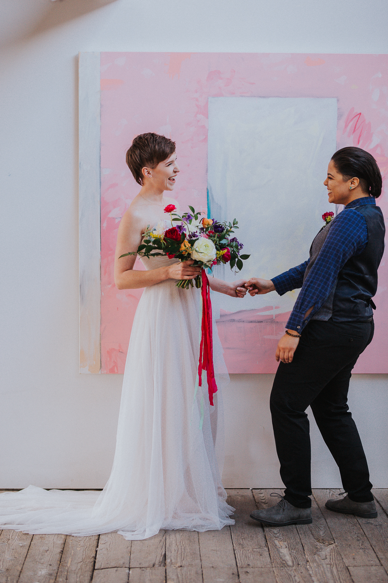 Playful and Colorful LGBTQ wedding inspiration styled shoot with hedgehog, dog, and iguana in Columbus Ohio