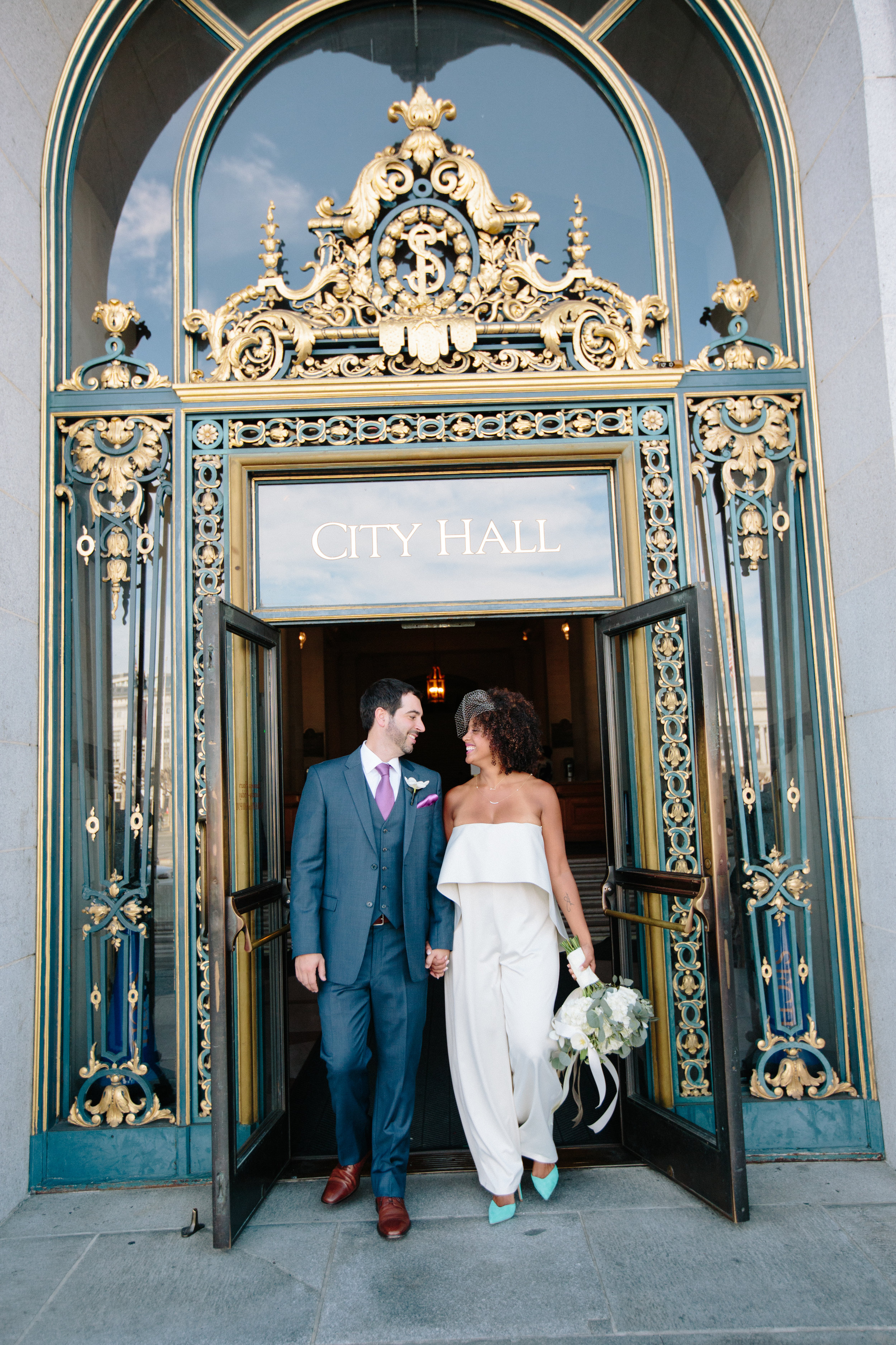 San Francisco Courthouse Wedding.Real Couples Pantsuit Glam At The Courthouse Chloe Mike