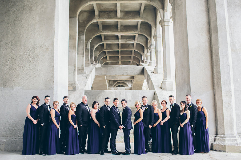 Purple bridesmaid dresses at a same-sex Black tie wedding in Ohio