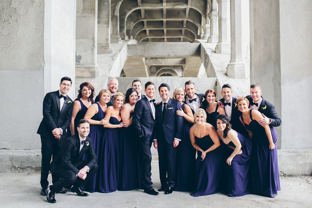 Vanity Fair style wedding party photo at a Black tie wedding in Ohio.