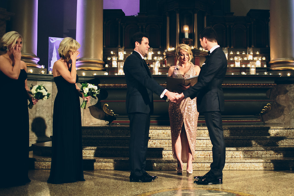 A Black tie wedding ceremony in Ohio, photographed by Cassandra Zetta.