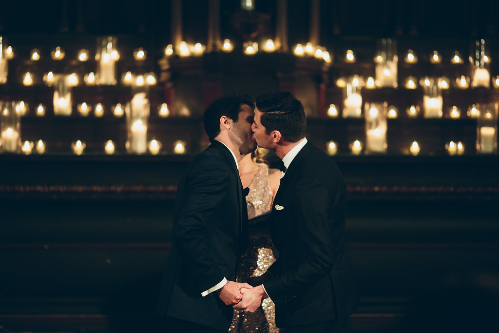The kiss at their wedding ceremony.