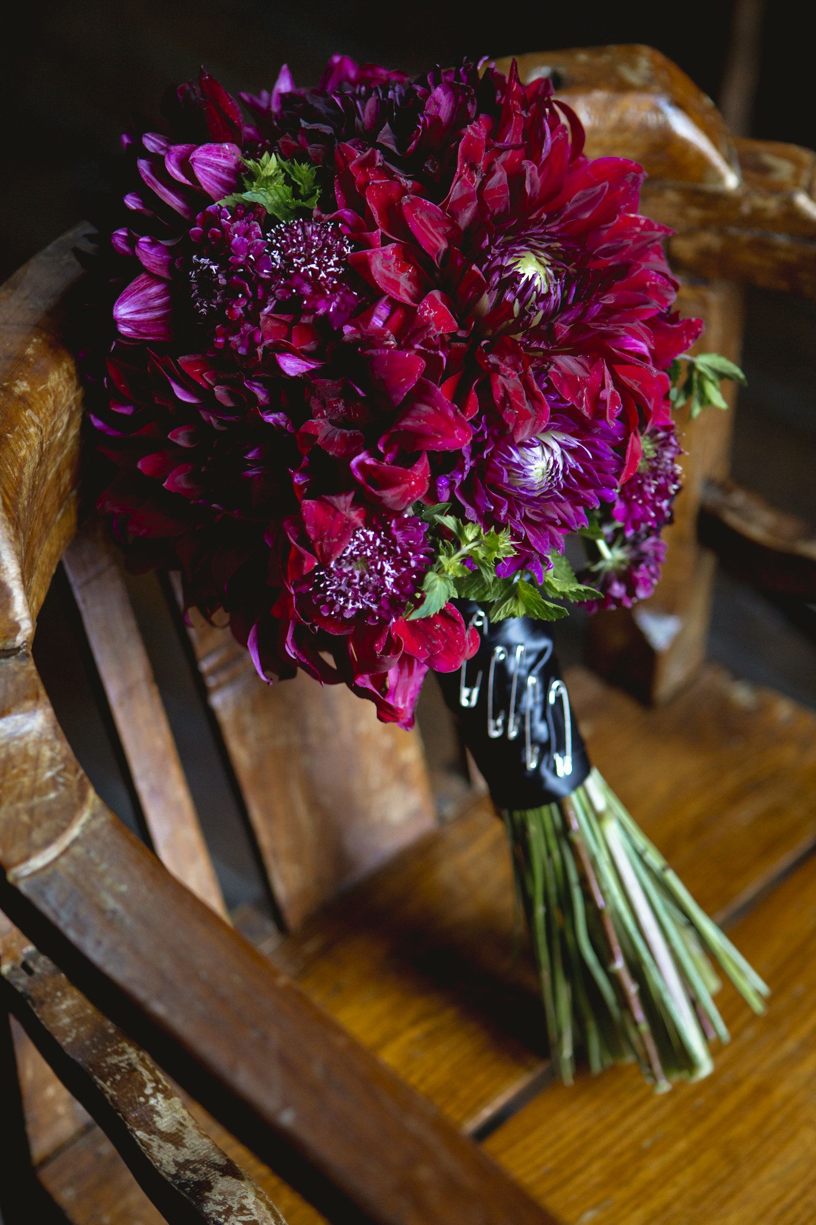 Purple and red bouquet by Foxglove Floral Design Studio in Brooklyn
