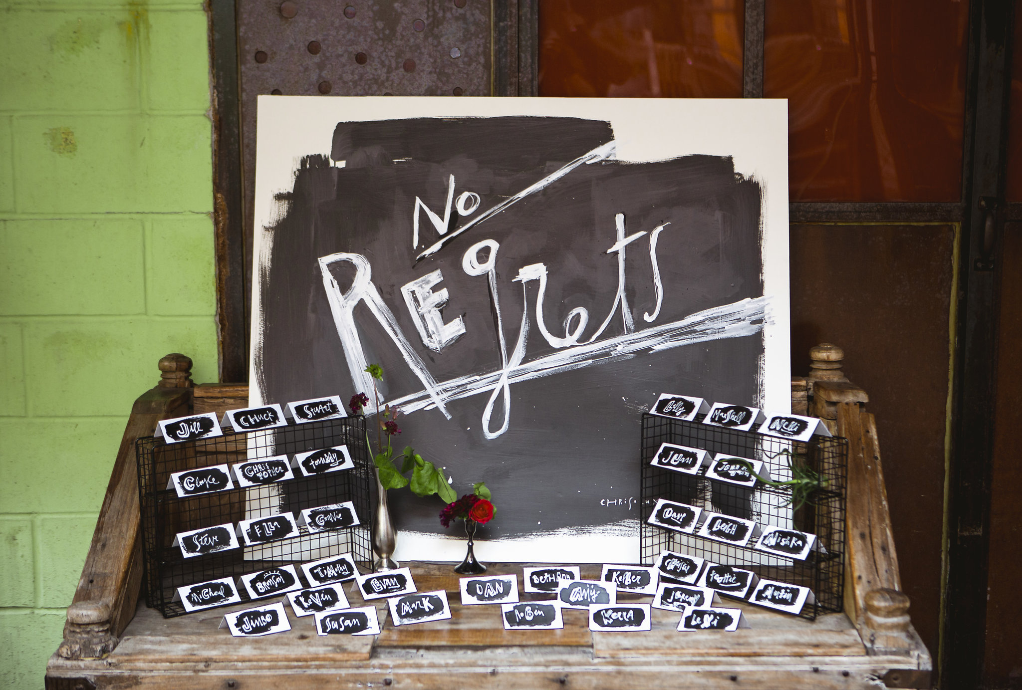 No regrets signage for wedding by Chrisolux