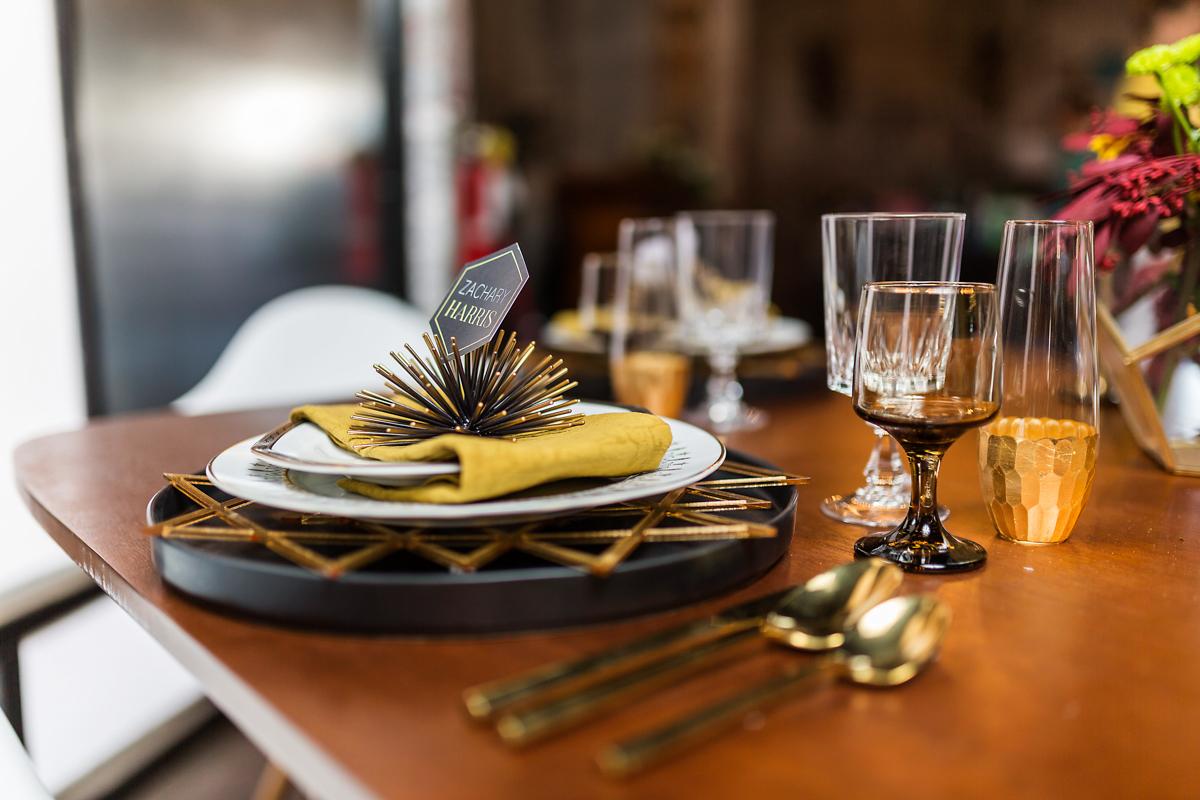 Mad Hatter Vintage Rentals gold wedding tablescape