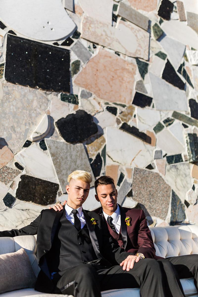 Black tie same-sex wedding portraits