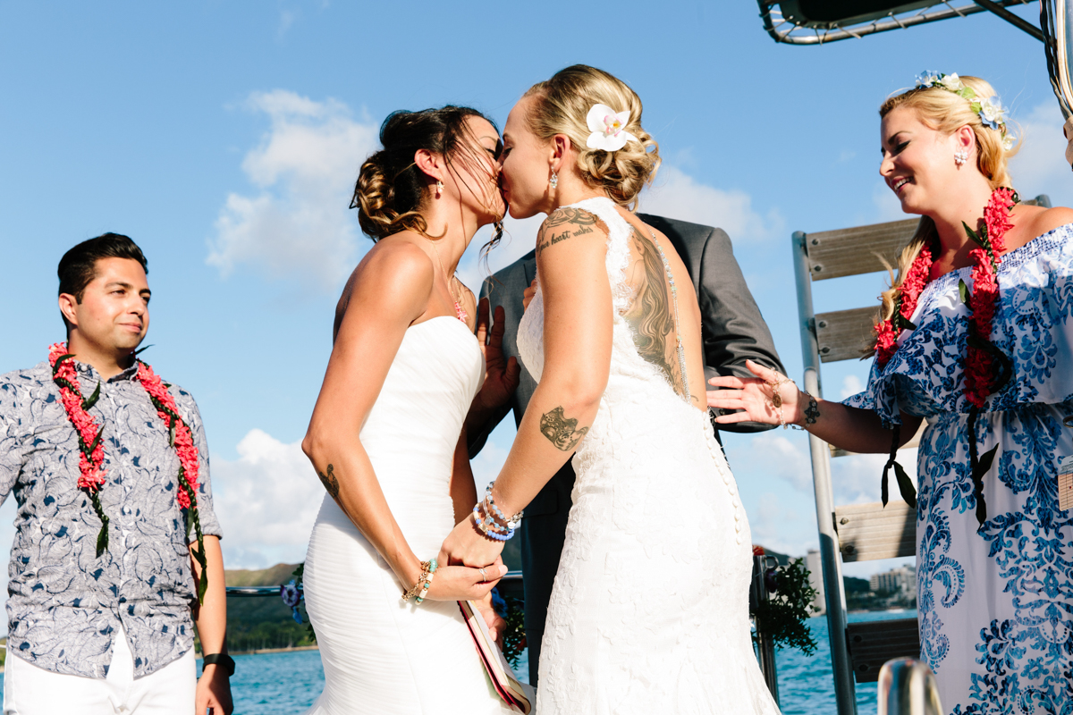 same-sex wedding kiss in Hawaii