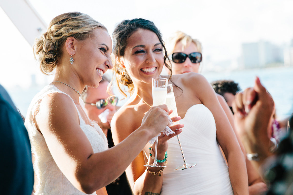champagne toast on a boat