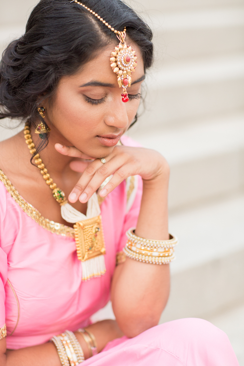 pink and gold wedding sari