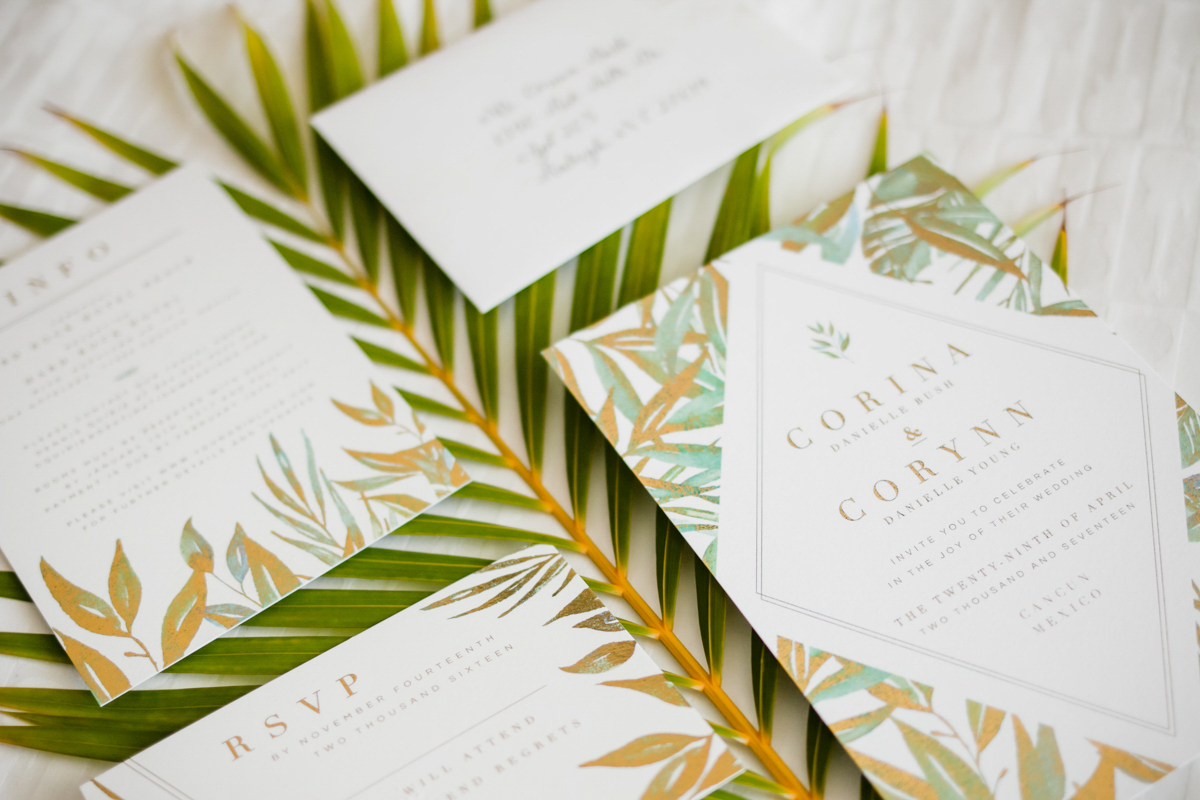 tropical beach wedding invitation idea