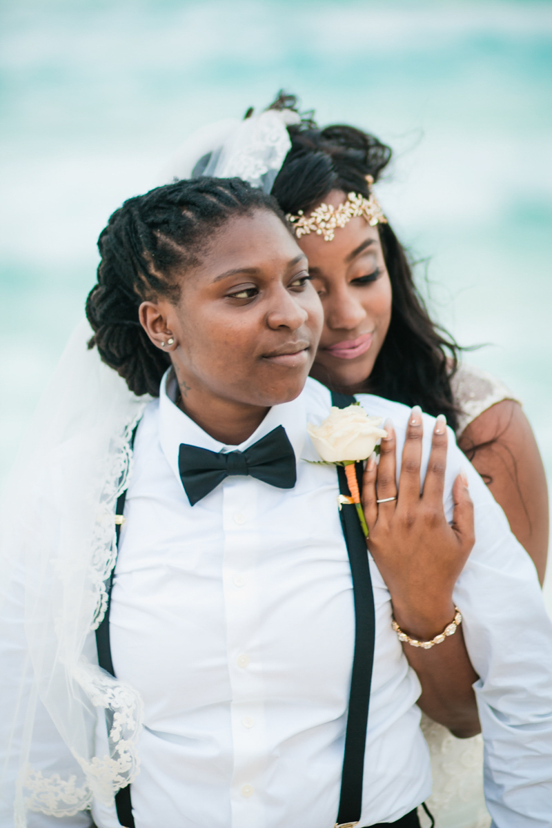 two brides at a beach ceremony in Mexico