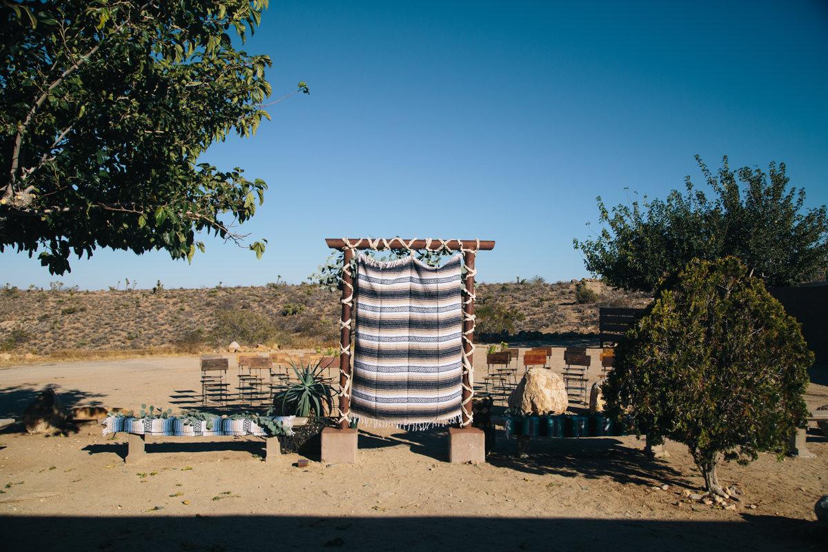 Desert wedding ceremony site