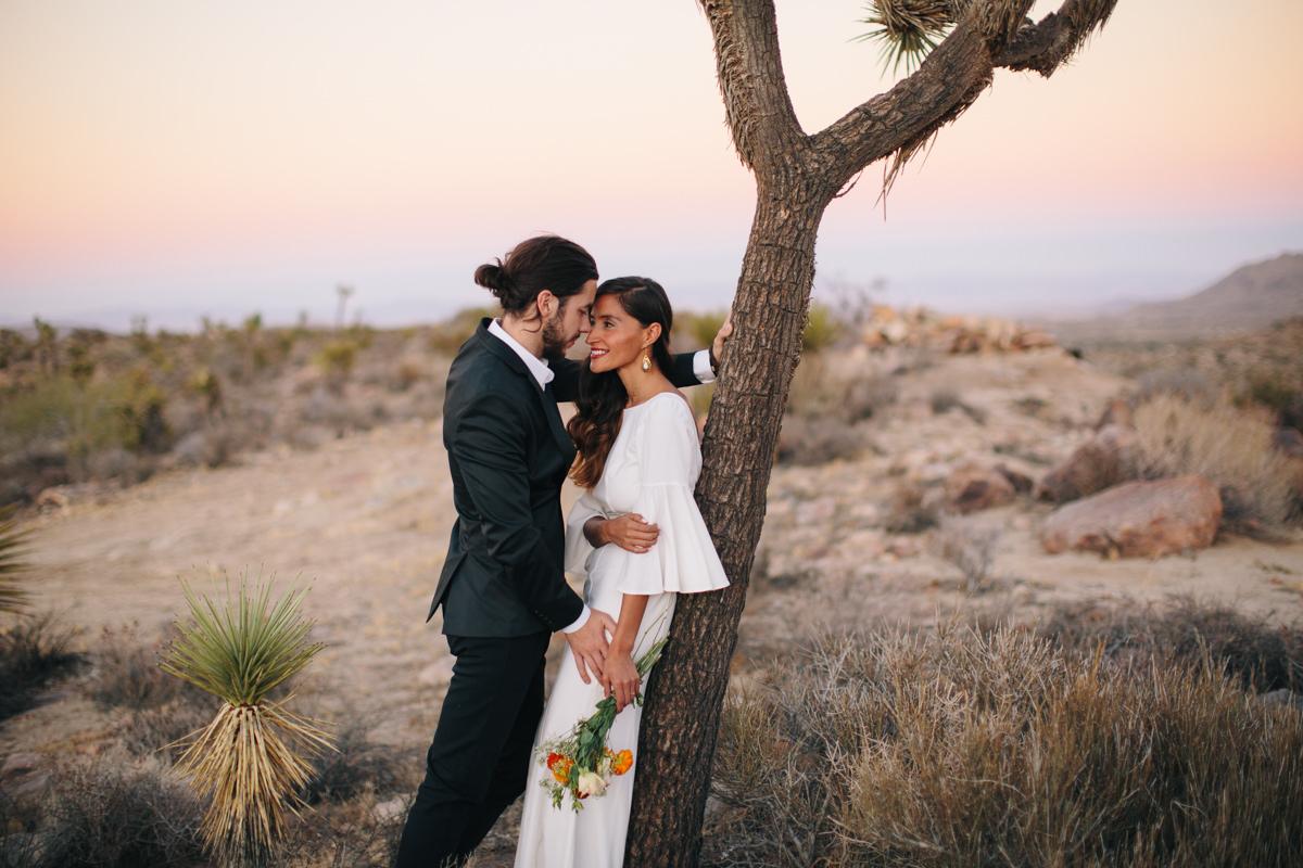 Bride and groom in Joshua Tree