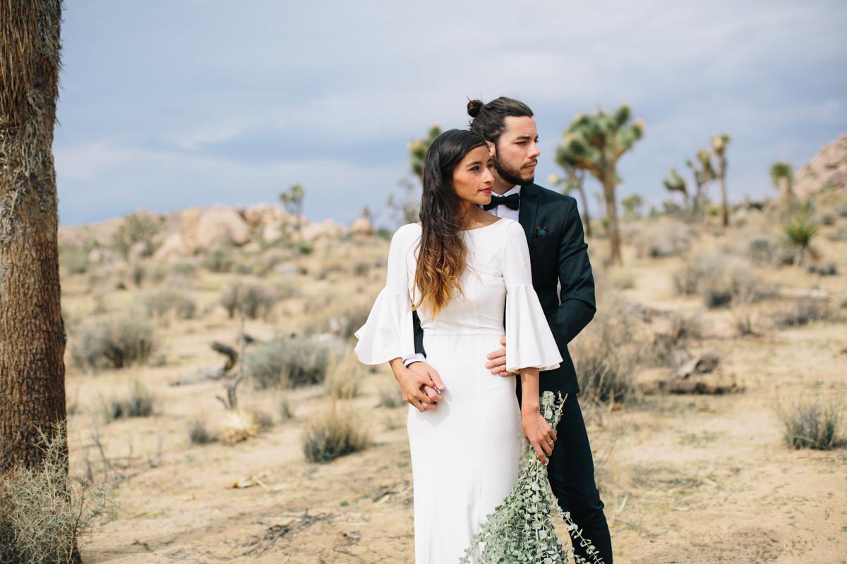 Joshua Tree wedding with eucalyptus bouquet