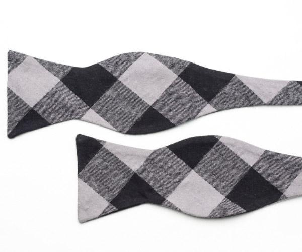 Black and Grey Plaid Cotton Self Tie Bow Tie