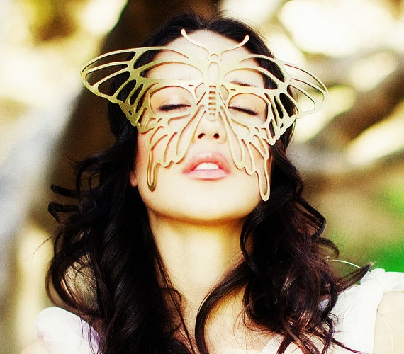 Gold Butterfly Authentic Leather Filigree Mask from MasksHQ