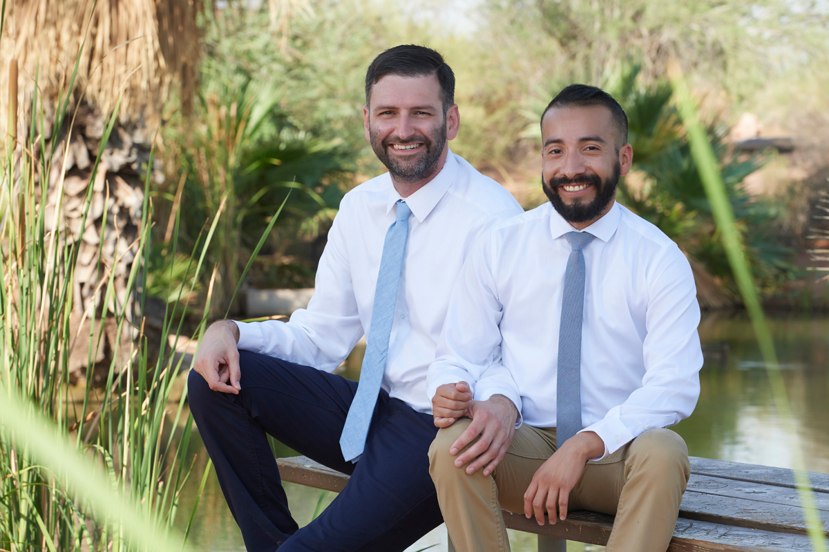 Engagement photos with two men in Phoenix