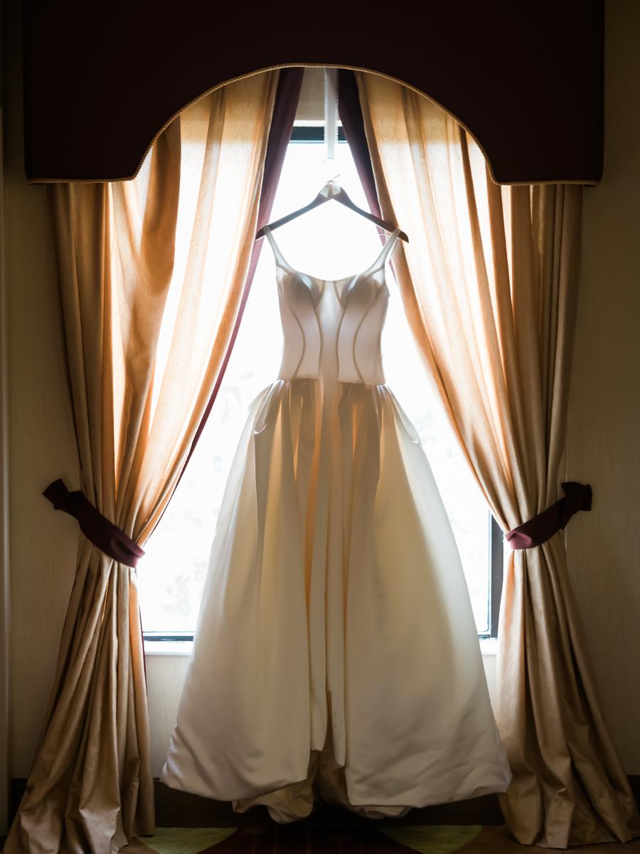 Zac Posen wedding gown in the window