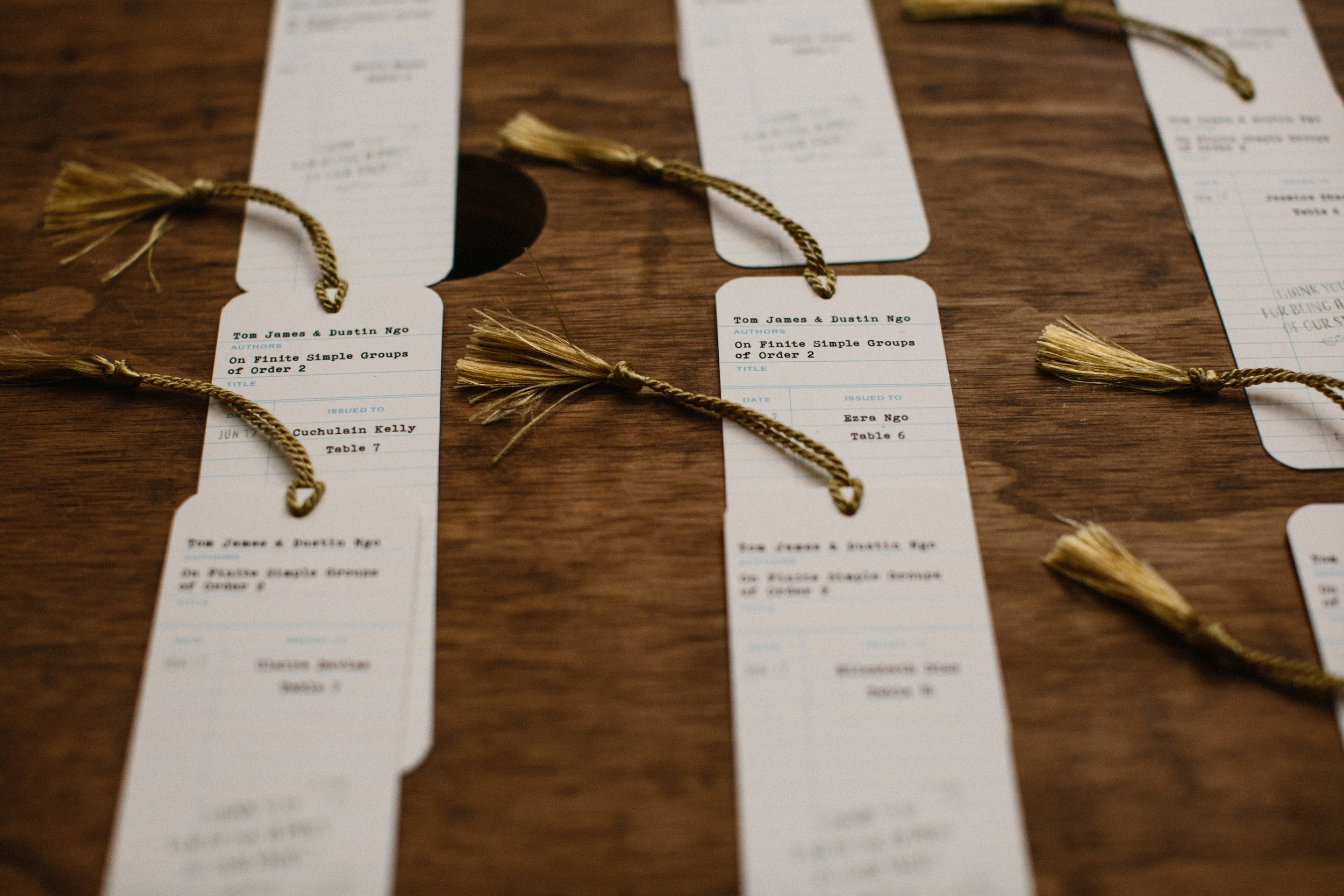 Escort cards by  Modern Rebel  and photo by  Aaron & Whitney Photography
