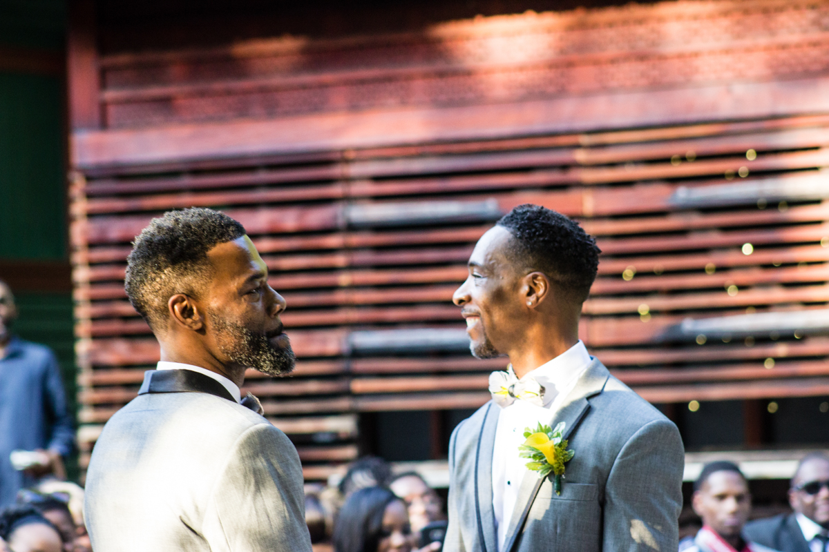 Grooms at their wedding ceremony