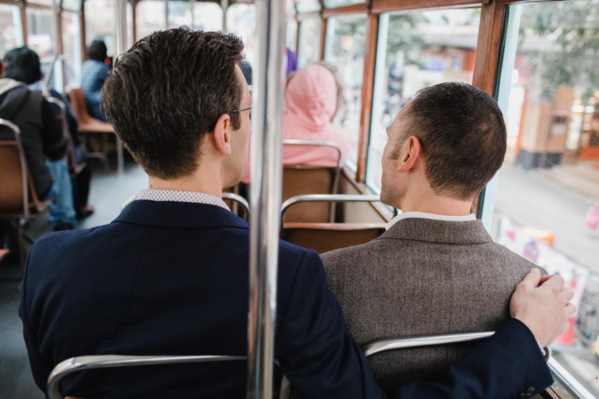 riding public transportation and cuddling