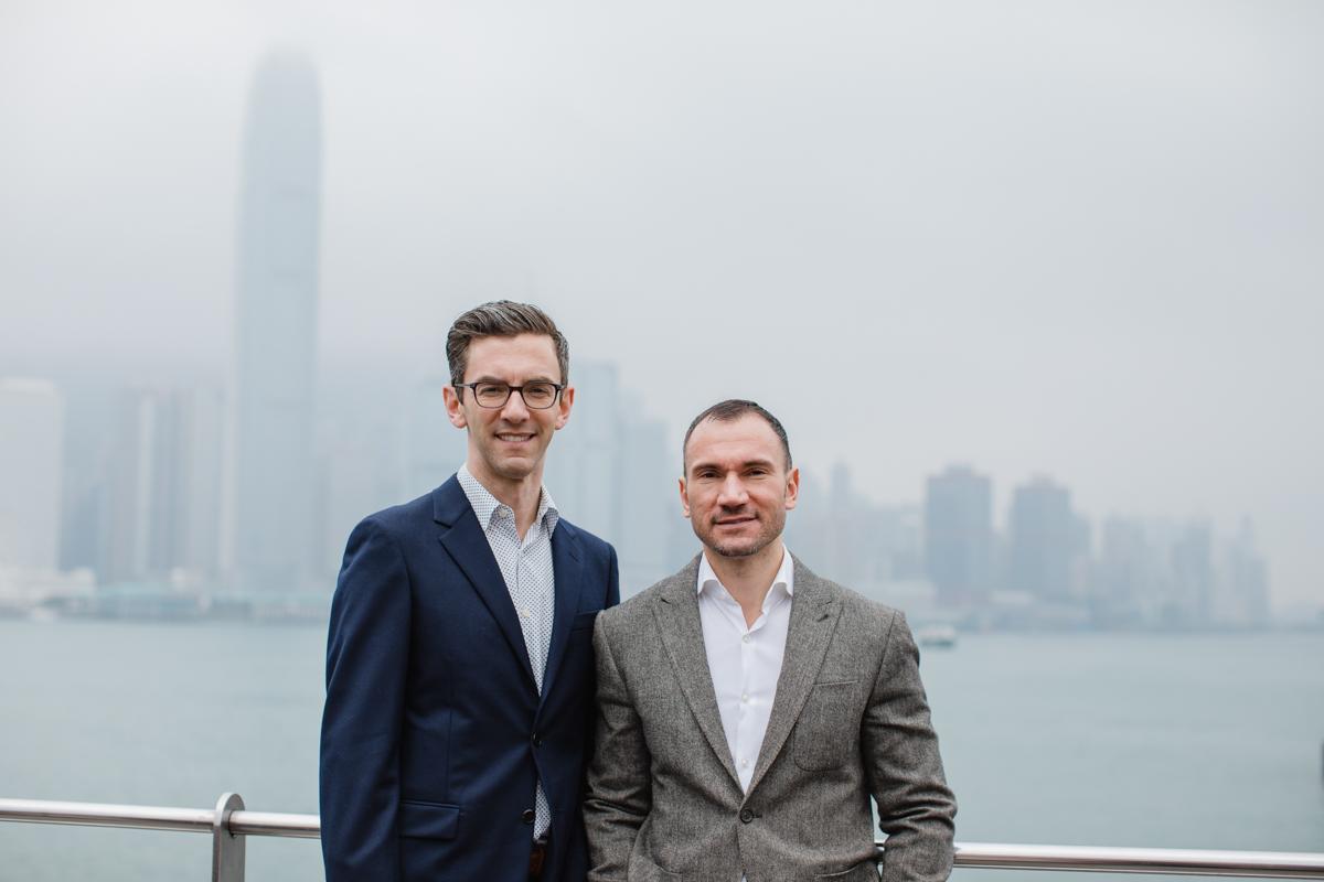 foggy Hong Kong skyline