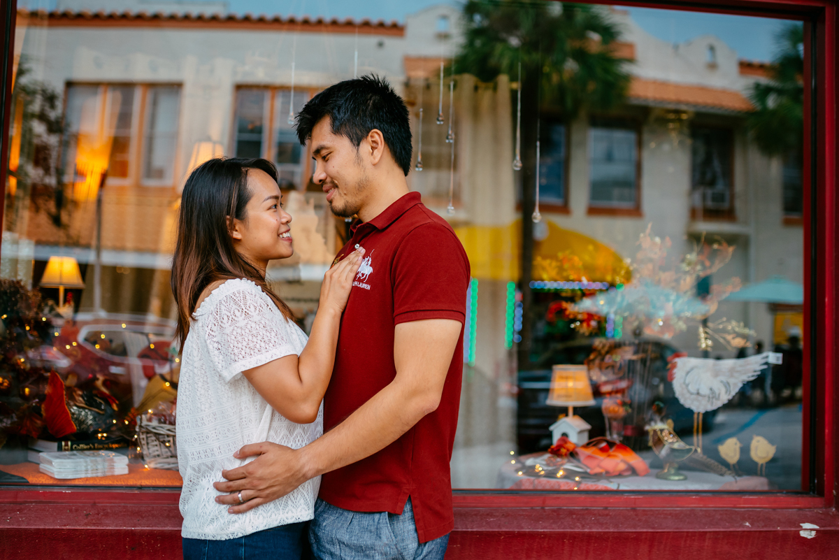 fun urban engagement session in a store front