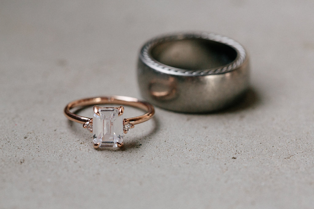 wedding rings posed together