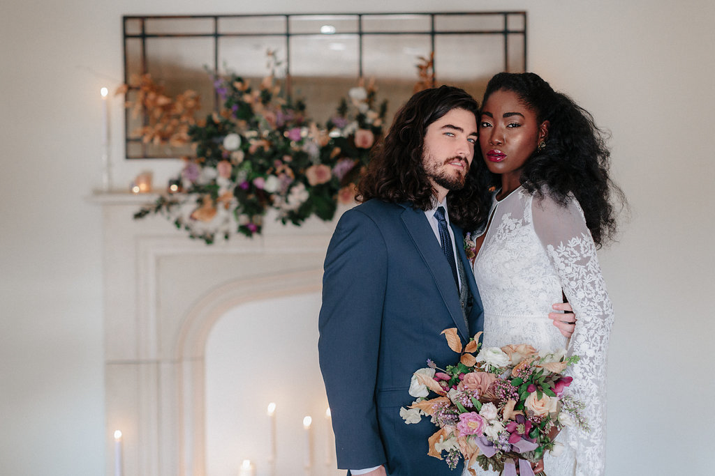 wedding portraits of black bride and white groom