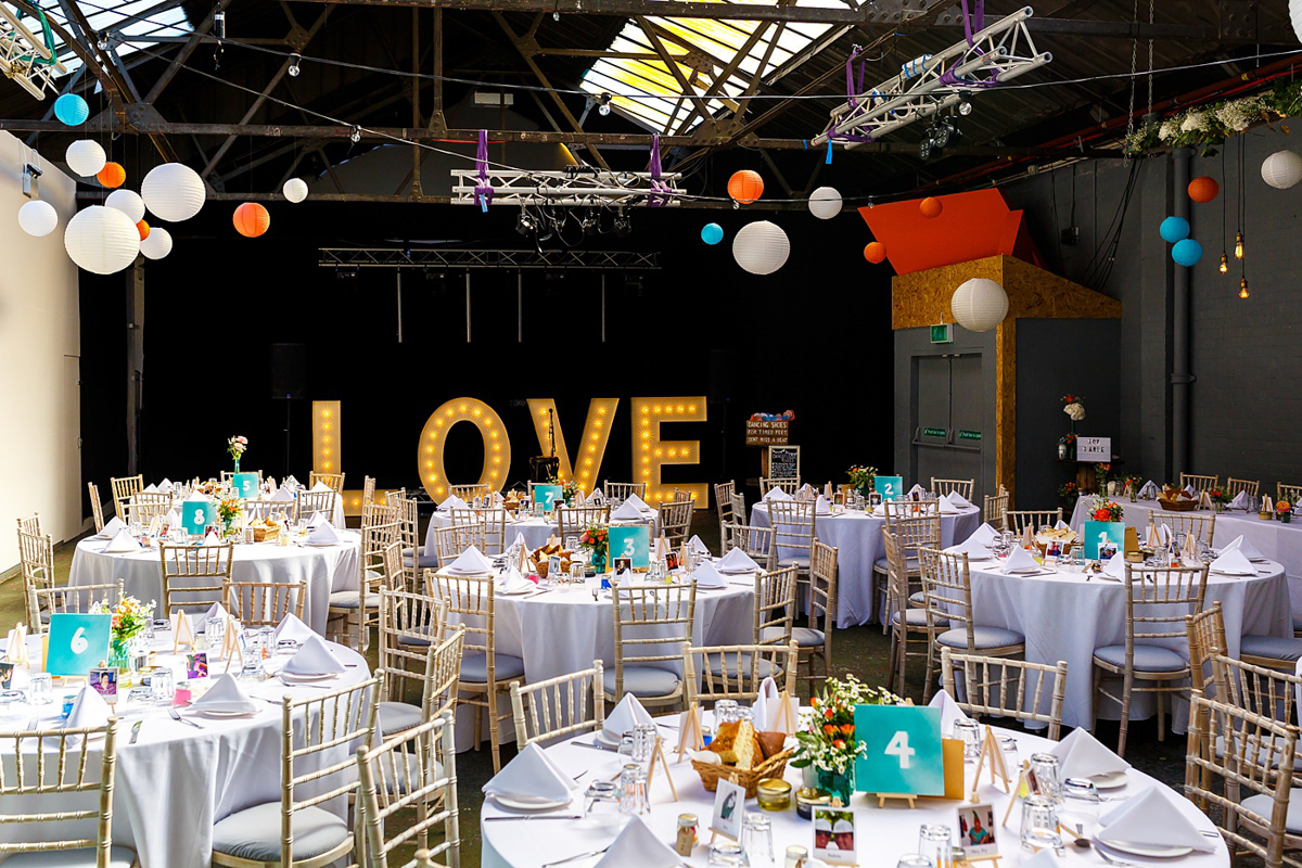 LOVE marquee letters for wedding at Constellations Liverpool
