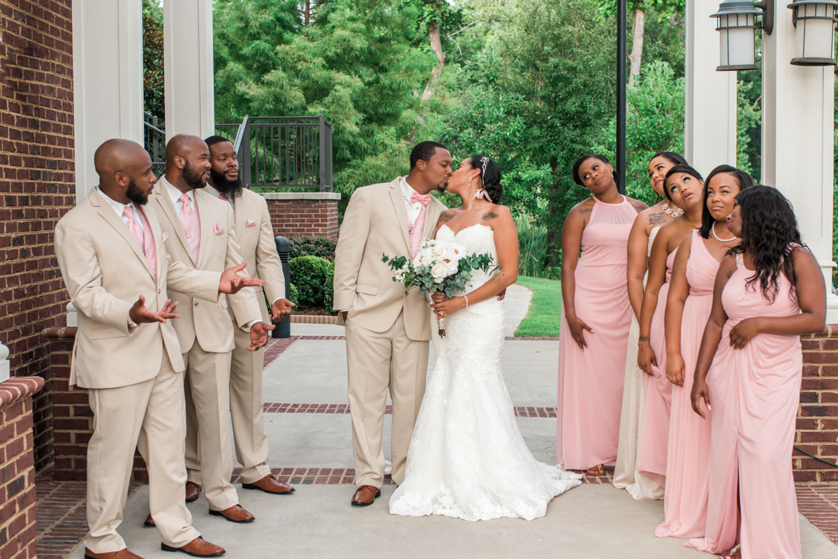 Bride, groom, and wedding party