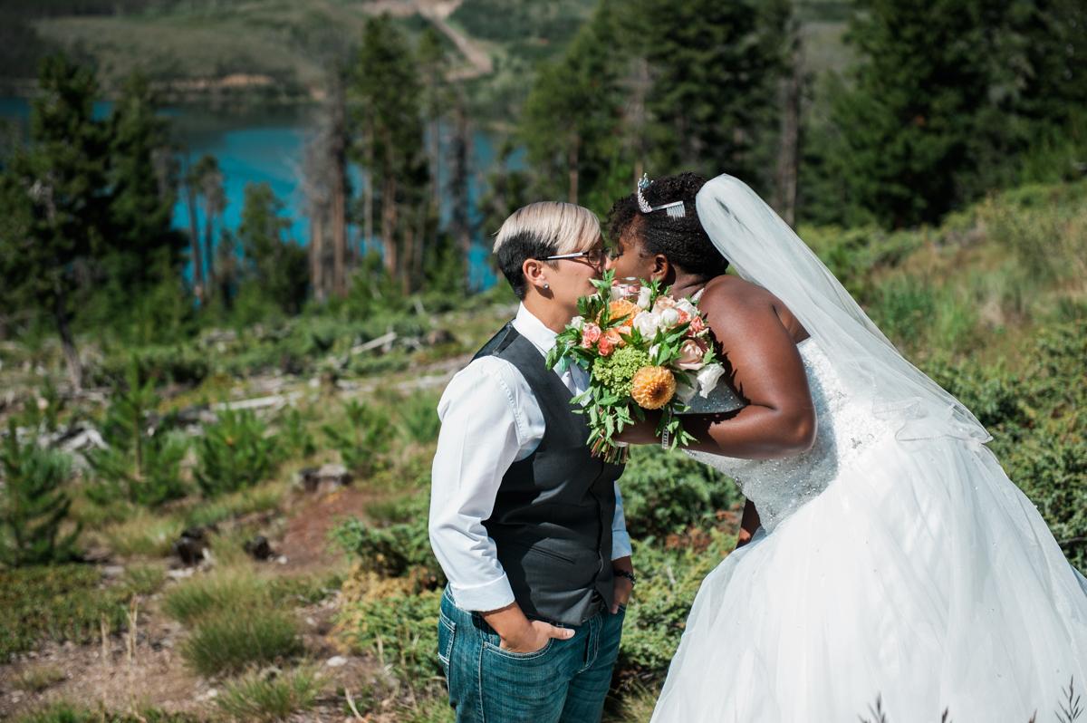 Mountain Elopement first look kiss