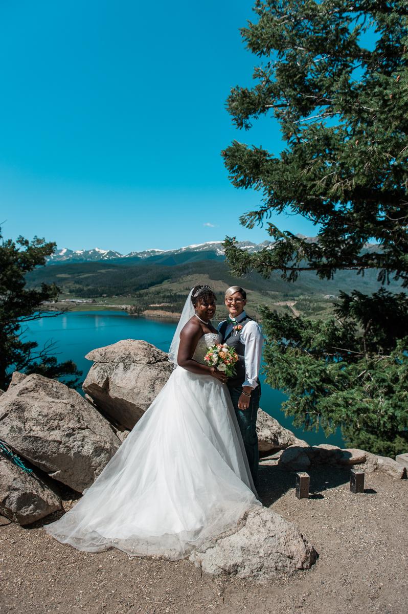 mountain elopement brides pose