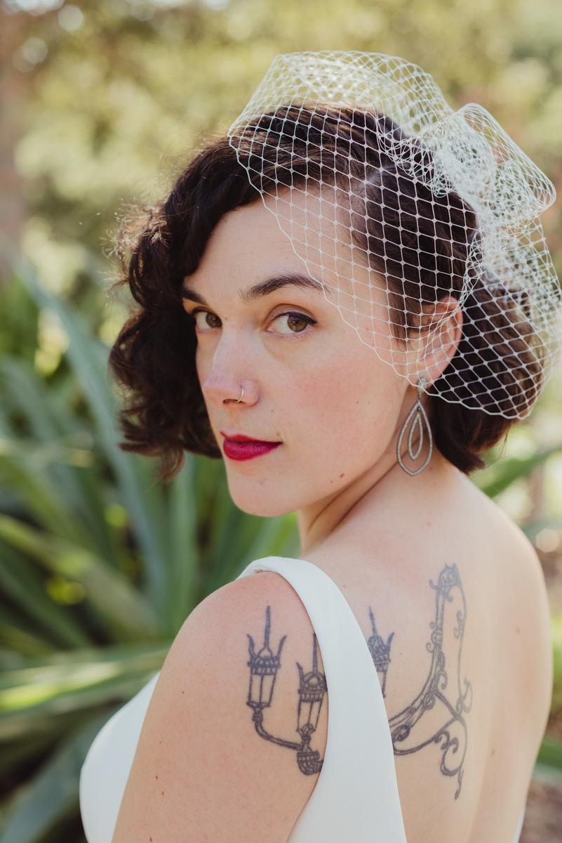 uc berkeley garden wedding laura looking over shoulder