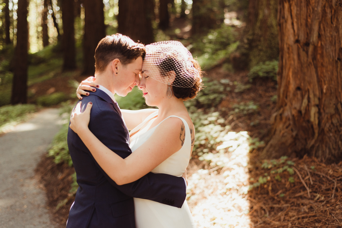 uc berkeley garden wedding couple on sunlit path