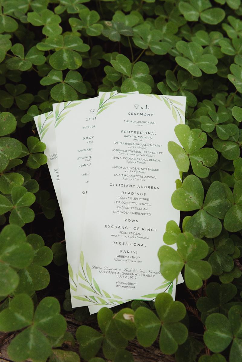 uc berkeley garden wedding invitations among clovers