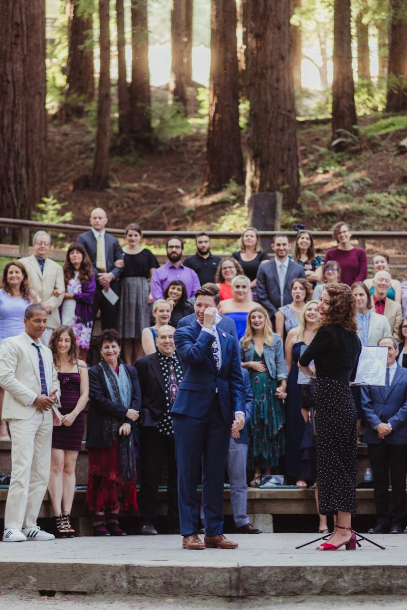 uc berkeley garden wedding lark and guests standing for bride