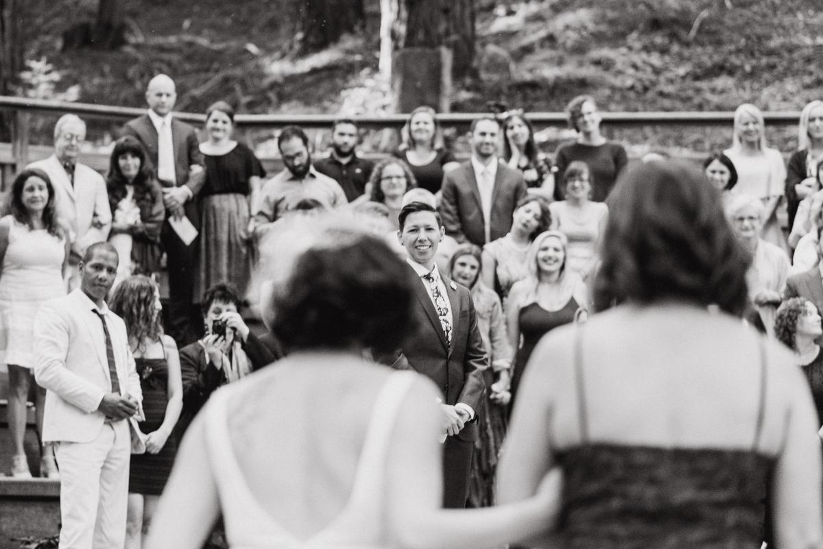 uc berkeley garden wedding bride approaching partner