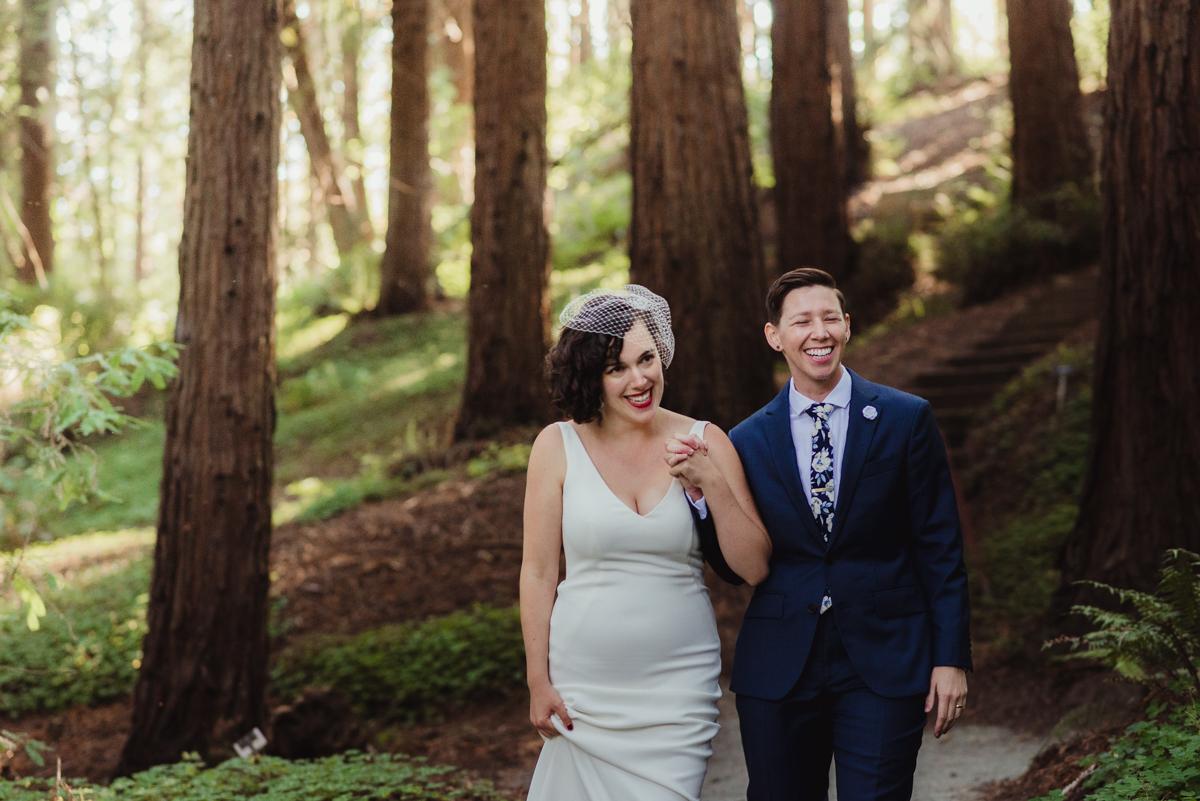 uc berkeley garden wedding couple holding hands