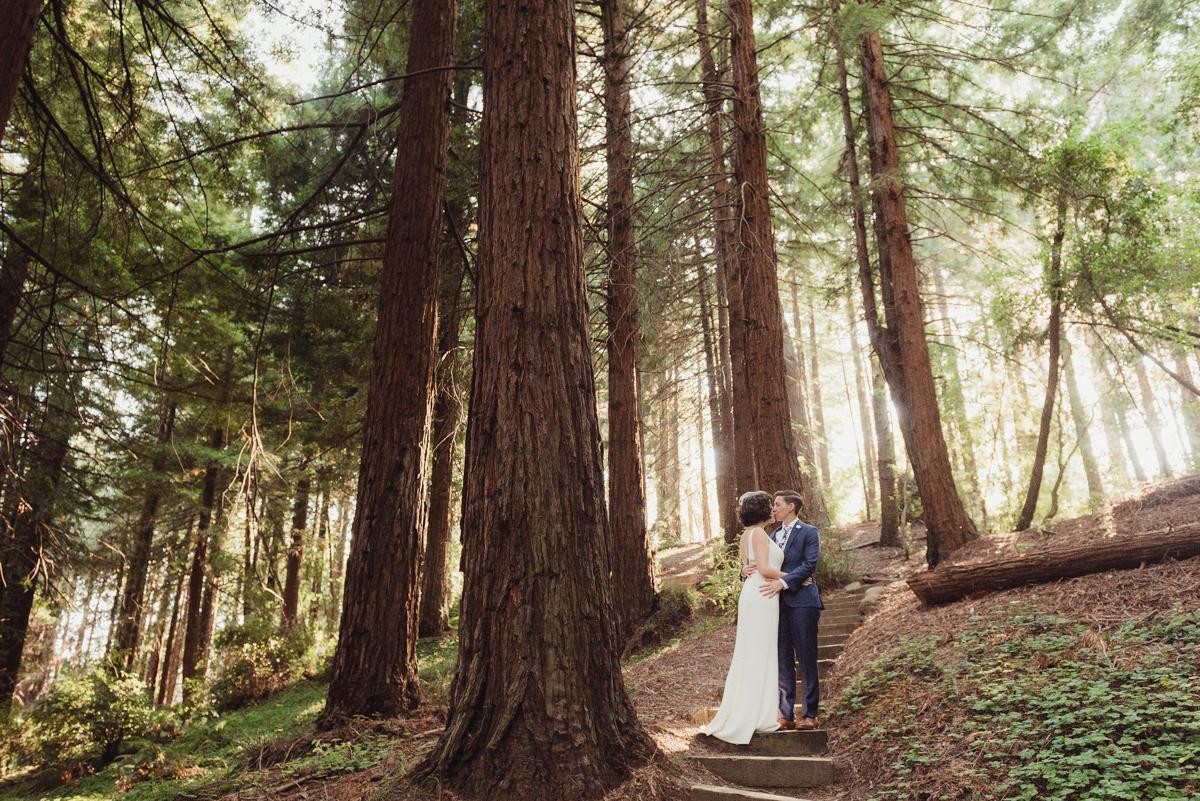 uc berkeley garden wedding kiss on stone steps