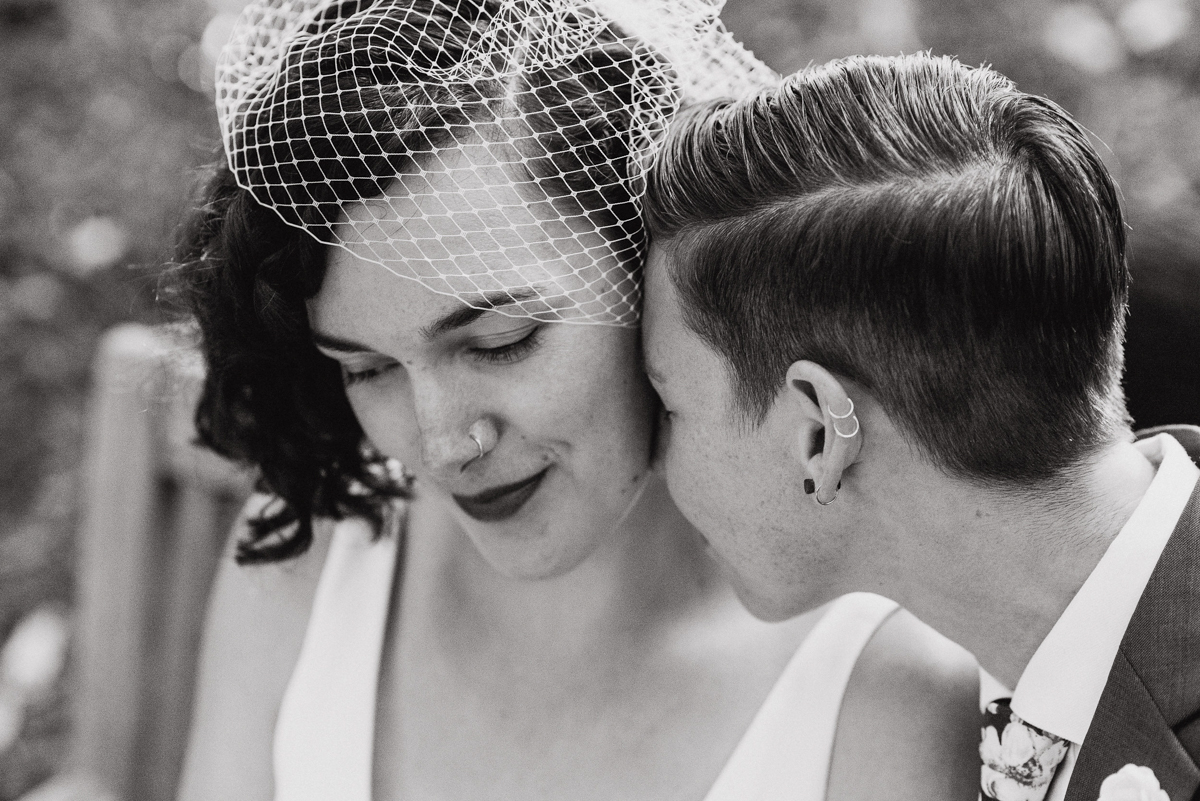 uc berkeley garden wedding couple close